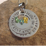 Custom mummy stack Disc & washer with 4 birthstone crystals - necklace or keyrin